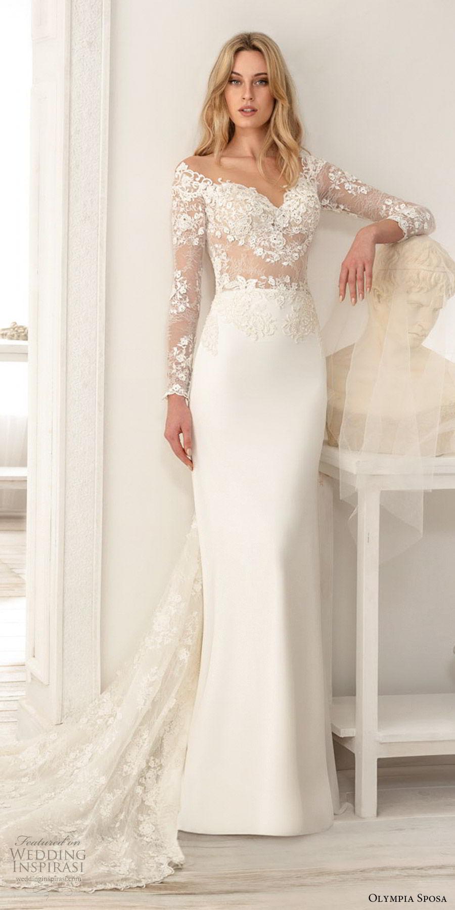 olympia sposa 2020 bridal illusion long sleeve off shoulder sweetheart sheer lace embellished bodice sheath wedding dress (2) elegant romantic chapel train mv