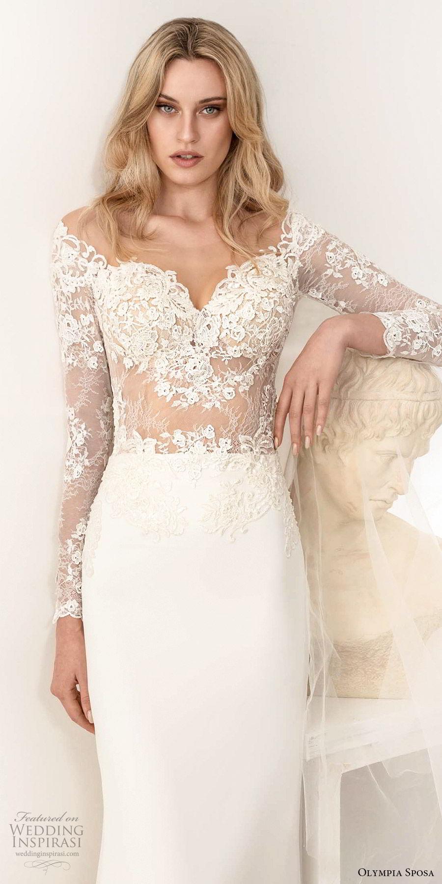 olympia sposa 2020 bridal illusion long sleeve off shoulder sweetheart sheer lace embellished bodice sheath wedding dress (2) elegant romantic chapel train zv