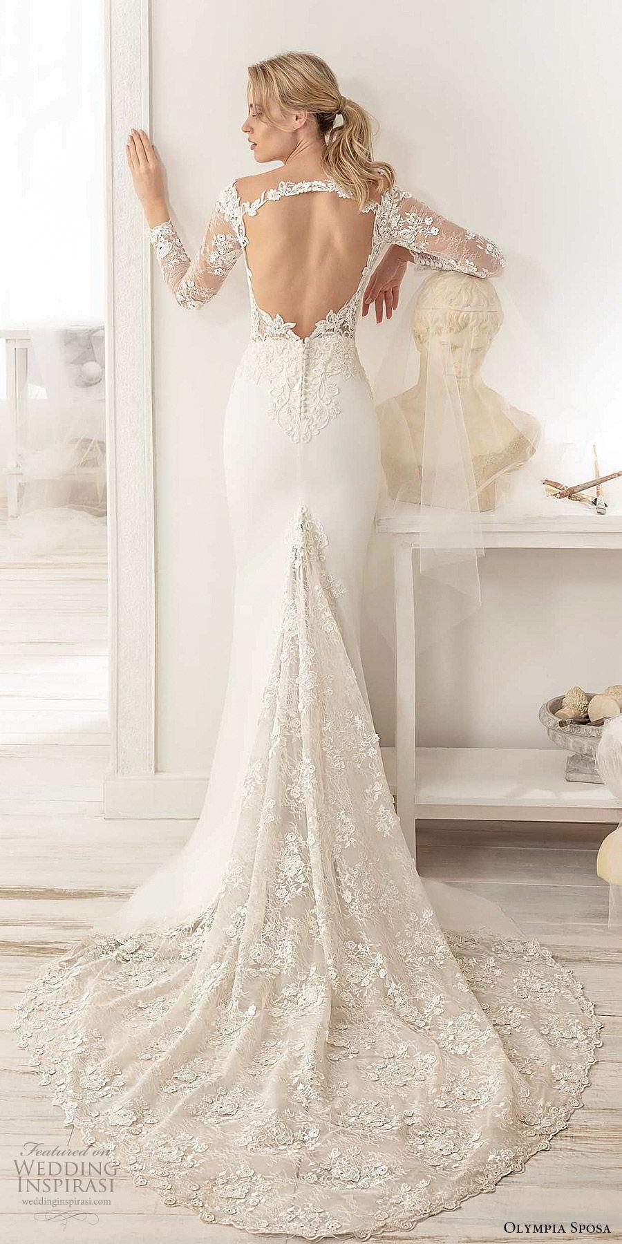 olympia sposa 2020 bridal illusion long sleeve off shoulder sweetheart sheer lace embellished bodice sheath wedding dress (2) elegant romantic keyhole back chapel train bv