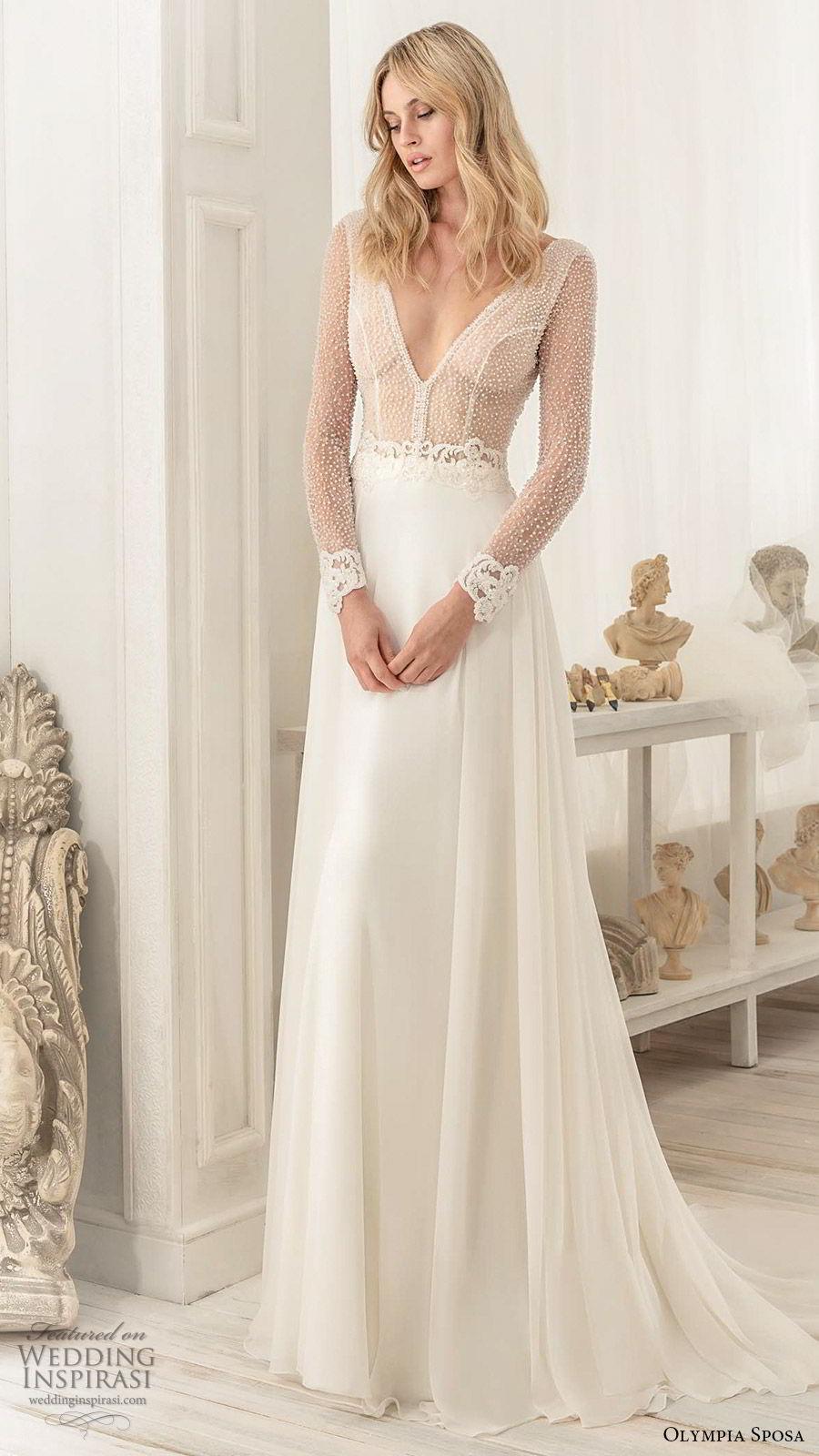 olympia sposa 2020 bridal illusion long sleeves deep v neckline sheer embellished bodice a line ball gown wedding dress (8) elegant modern sexy chapel train mv