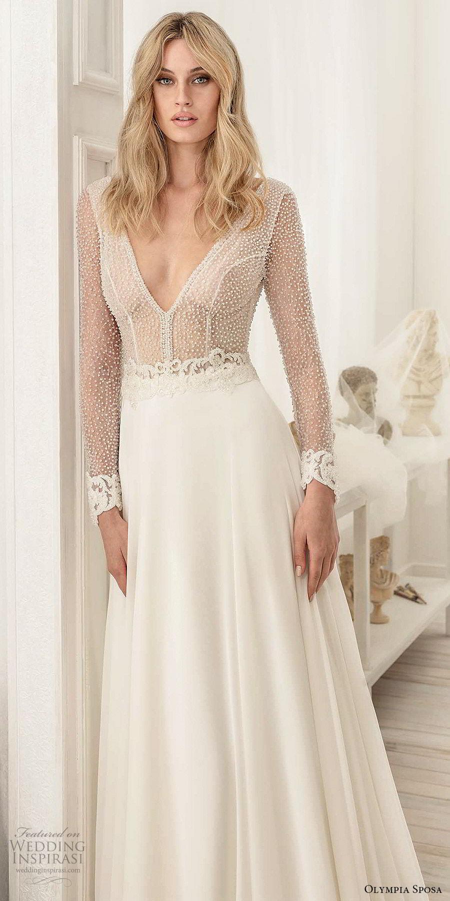 olympia sposa 2020 bridal illusion long sleeves deep v neckline sheer embellished bodice a line ball gown wedding dress (8) elegant modern sexy chapel train zv