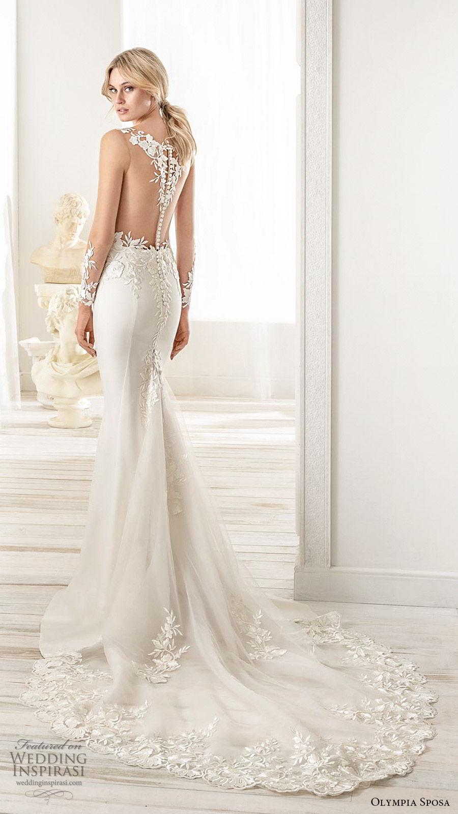 olympia sposa 2020 bridal illusion long sleeves v neckline sheer embellished bodice fit flare trumpet mermaid wedding dress (15) elegant sexy illusion back chapel train bv