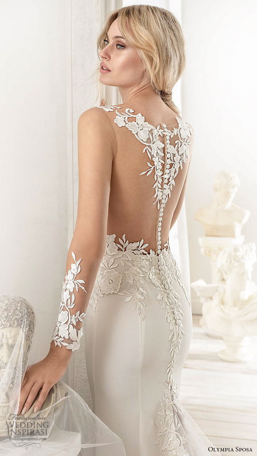 olympia sposa 2020 bridal illusion long sleeves v neckline sheer embellished bodice fit flare trumpet mermaid wedding dress (15) elegant sexy illusion back chapel train zbv