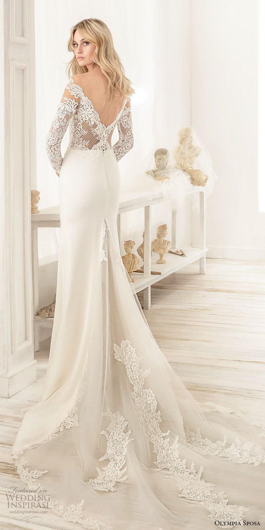 olympia sposa 2020 bridal off shoulder illusion long sleeves heavily embellished bodice sheath wedding dress (9) elegant sexy v back cathedral train bv