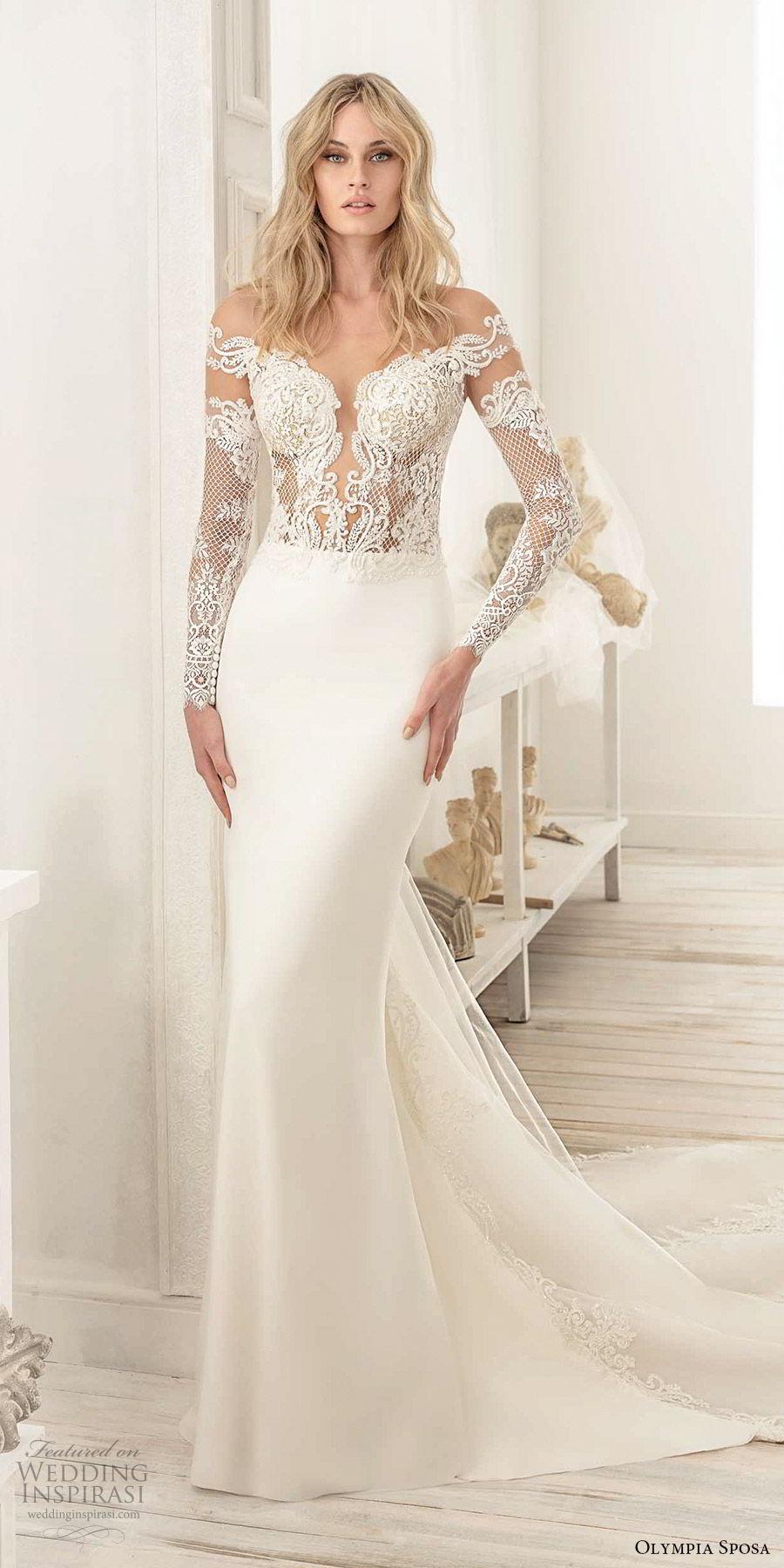olympia sposa 2020 bridal off shoulder illusion long sleeves heavily embellished bodice sheath wedding dress (9) elegant sexy v back cathedral train mv