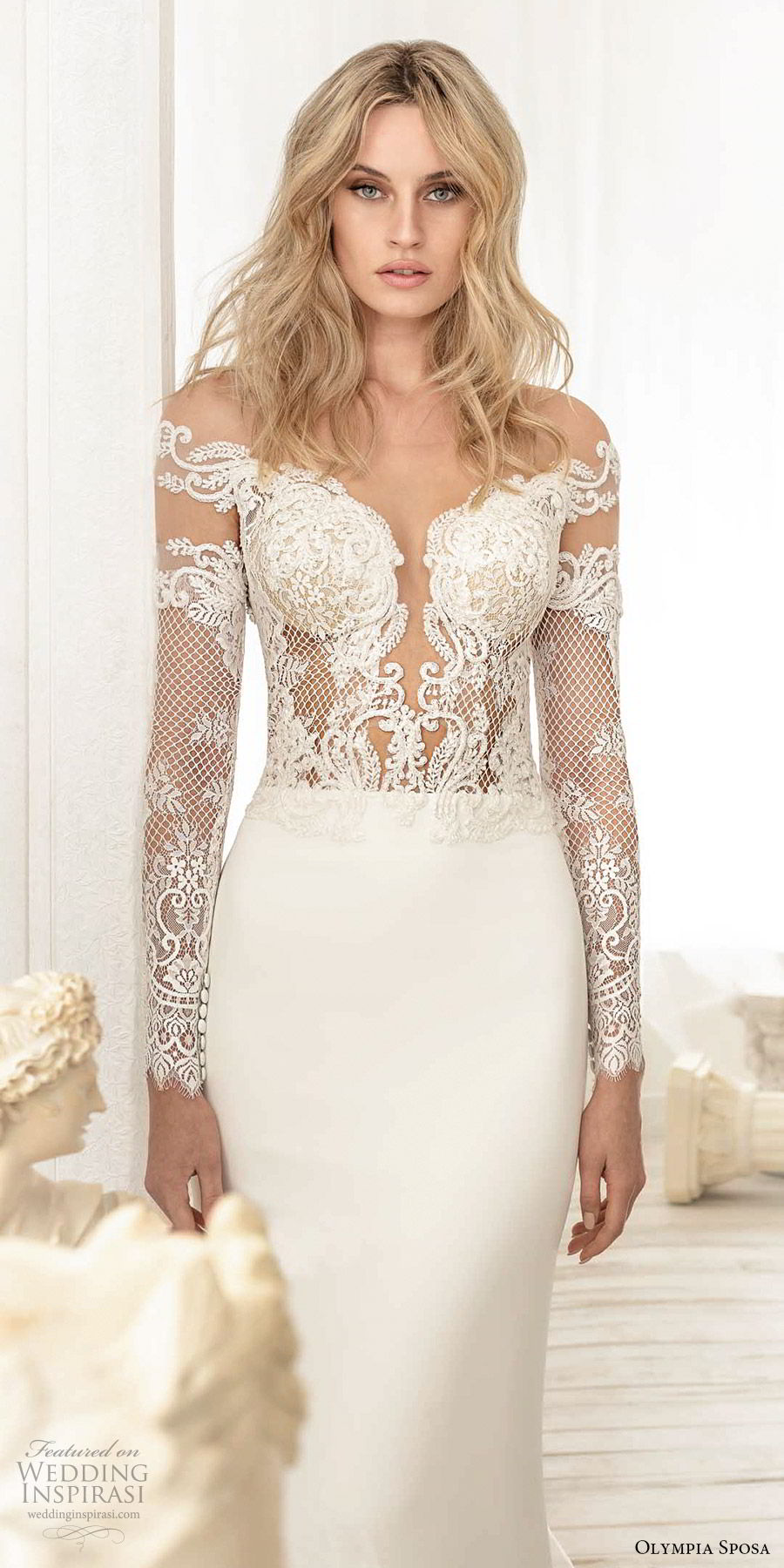 olympia sposa 2020 bridal off shoulder illusion long sleeves heavily embellished bodice sheath wedding dress (9) elegant sexy v back cathedral train zv