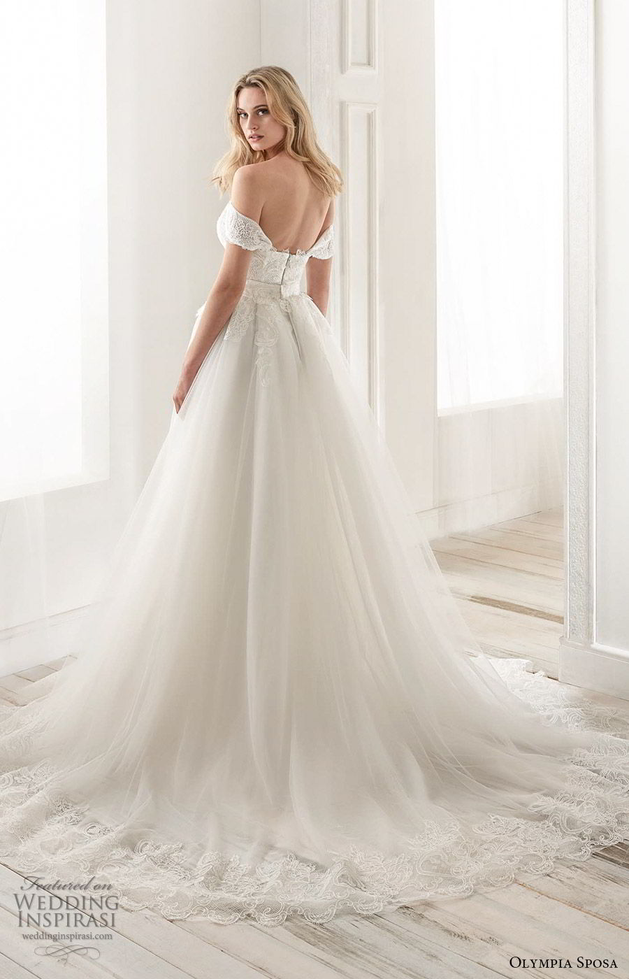olympia sposa 2020 bridal off shoulder sweetheart embellished bodice sheath wedding dress a line ball gown overskirt (12) modern romantic cathedral train bv
