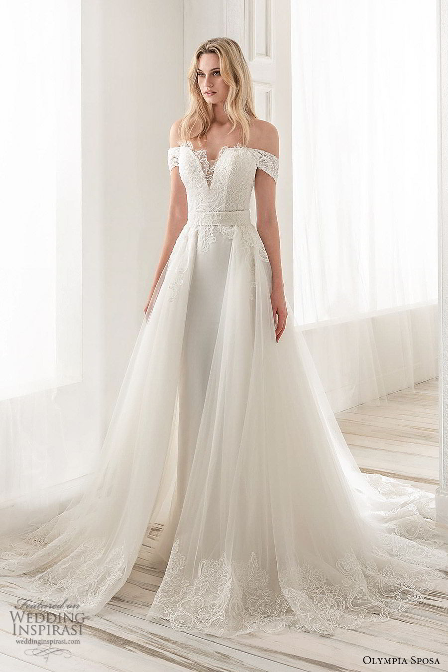 olympia sposa 2020 bridal off shoulder sweetheart embellished bodice sheath wedding dress a line ball gown overskirt (12) modern romantic cathedral train mv