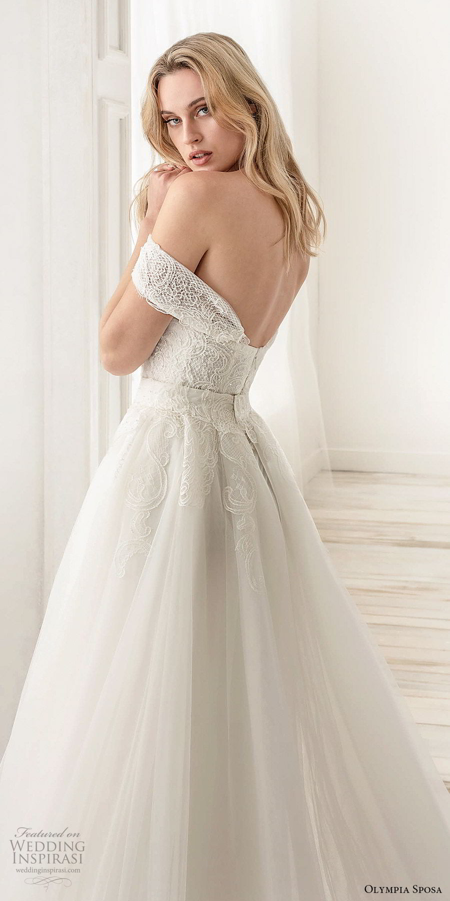 olympia sposa 2020 bridal off shoulder sweetheart embellished bodice sheath wedding dress a line ball gown overskirt (12) modern romantic cathedral train zbv