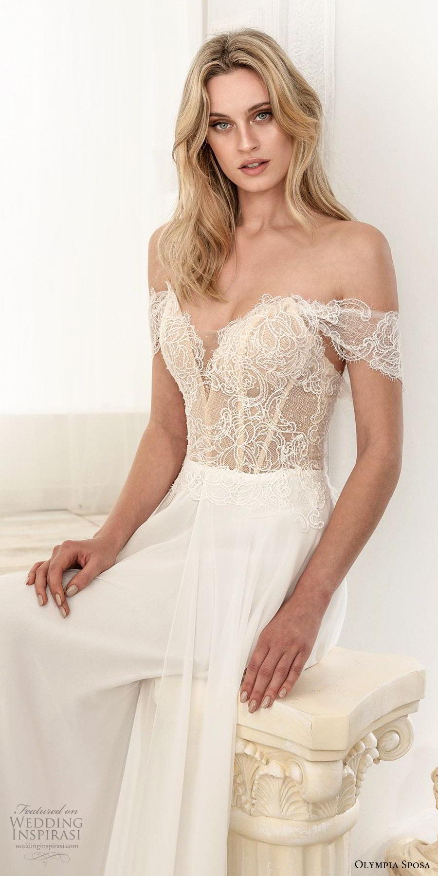 olympia sposa 2020 bridal off shoulder sweetheart neckline embellished bodice a line ball gown wedding dress (1) romantic elegant sweep train zv