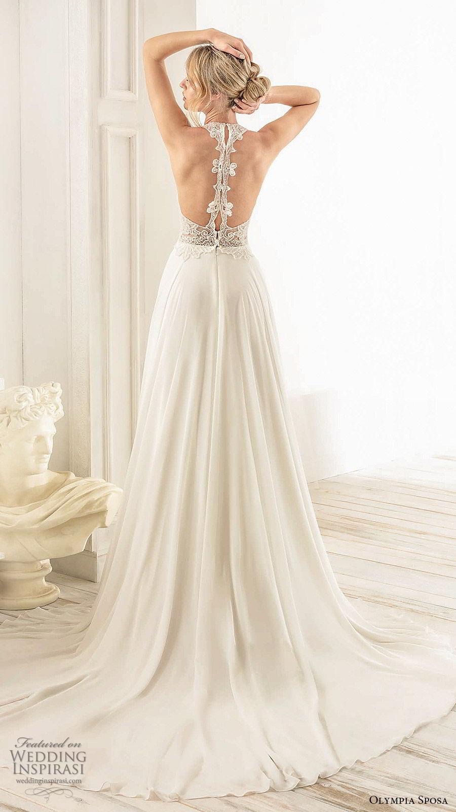 olympia sposa 2020 bridal sleeveless halter neck embellished beaded bodice a line wedding dress (5) romantic elegant racer back chapel train bv