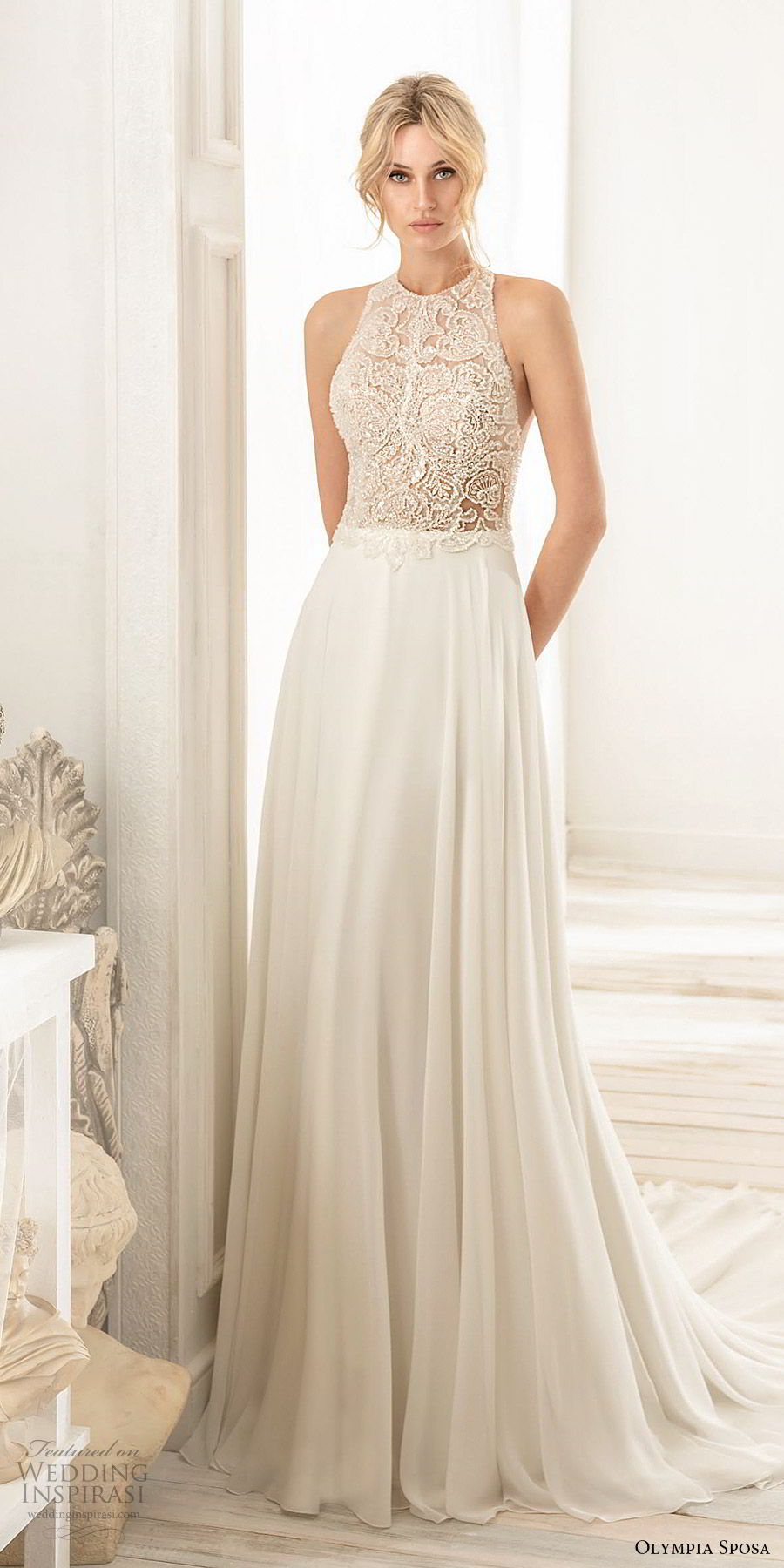 olympia sposa 2020 bridal sleeveless halter neck embellished beaded bodice a line wedding dress (5) romantic elegant racer back chapel train  mv