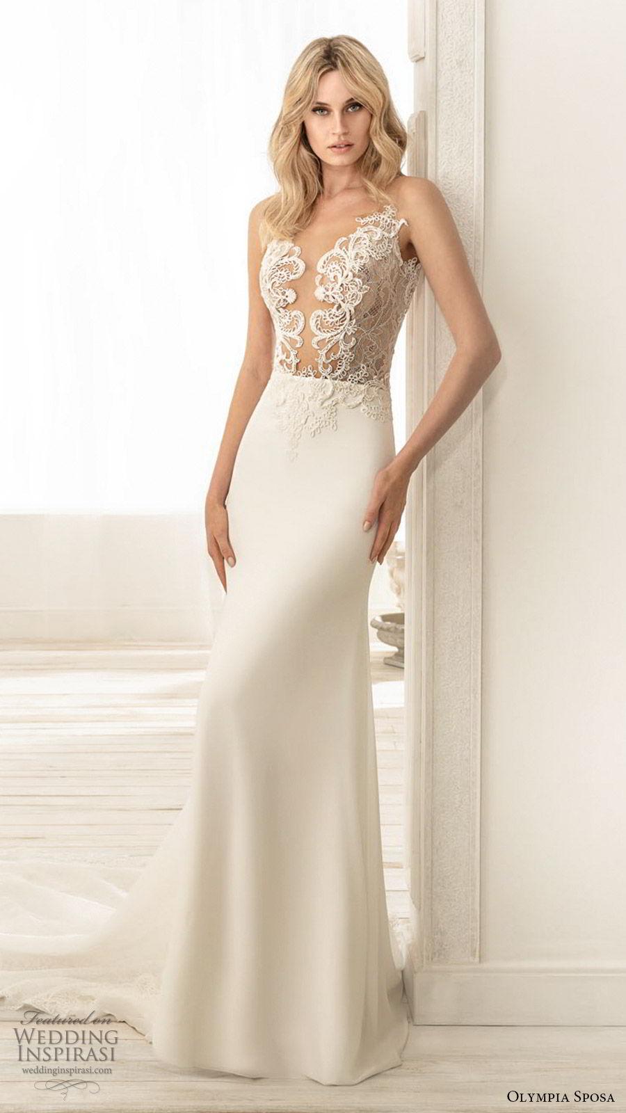 olympia sposa 2020 bridal sleeveless illusion straps plunging v neckline sheer embellished bodice sheath wedding dress (6) elegant sexy low back chapel train mv