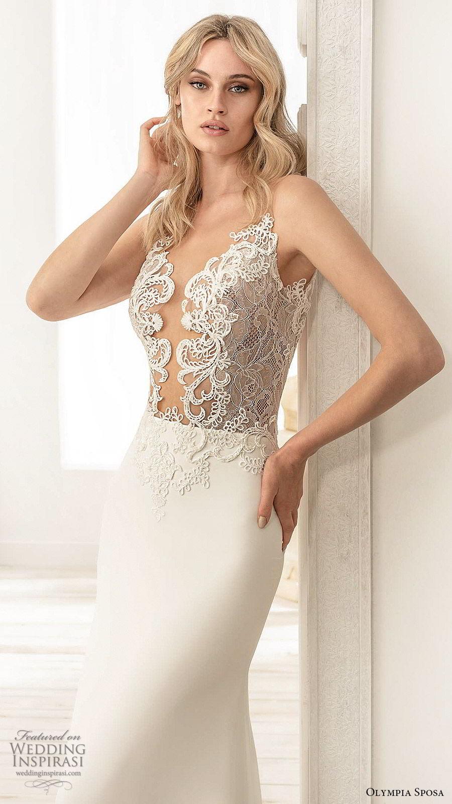 olympia sposa 2020 bridal sleeveless illusion straps plunging v neckline sheer embellished bodice sheath wedding dress (6) elegant sexy low back chapel train zv