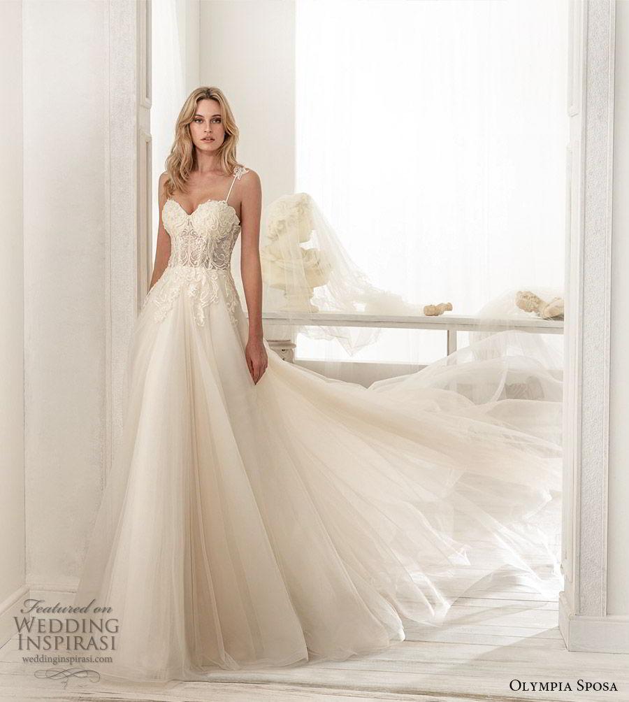 olympia sposa 2020 bridal sleeveless straps sweetheart neckline lace embellished bodice a line ball gown wedding dress (11) romantic princess chapel train mv