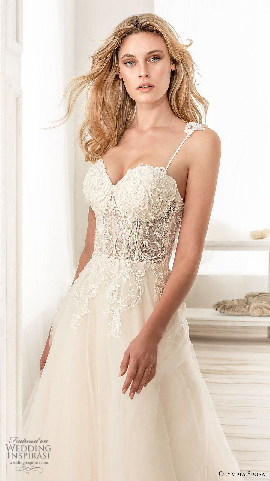 olympia sposa 2020 bridal sleeveless straps sweetheart neckline lace embellished bodice a line ball gown wedding dress (11) romantic princess chapel train zv