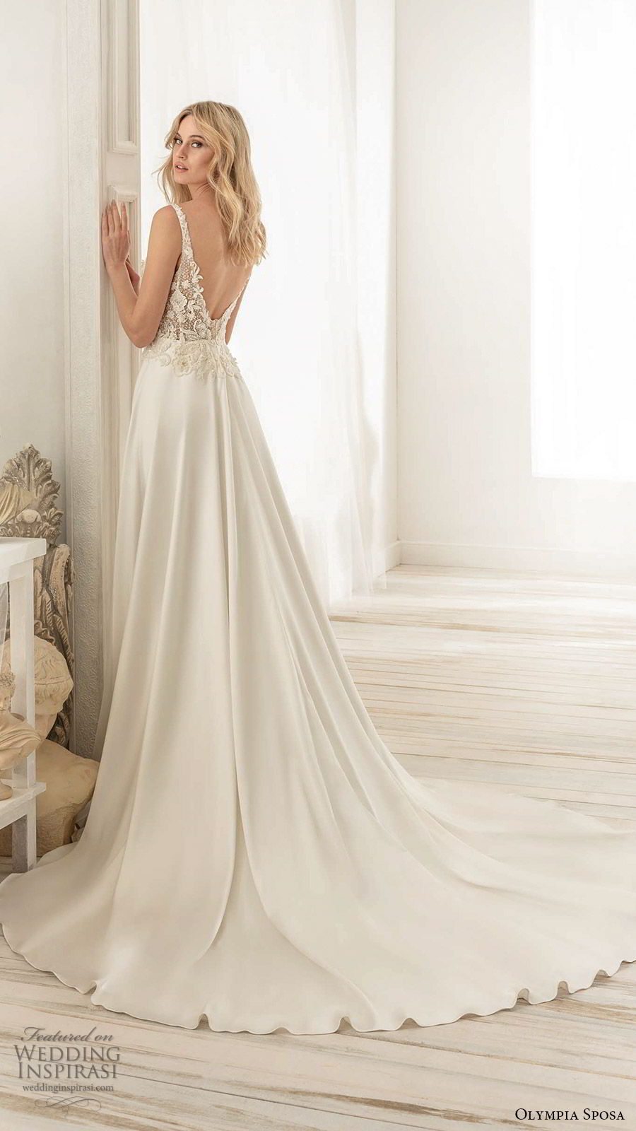 olympia sposa 2020 bridal sleeveless straps v neckline embellished bodice side cutouts a line ball gown wedding dress (4) elegant romantic scoop back chapel train bv