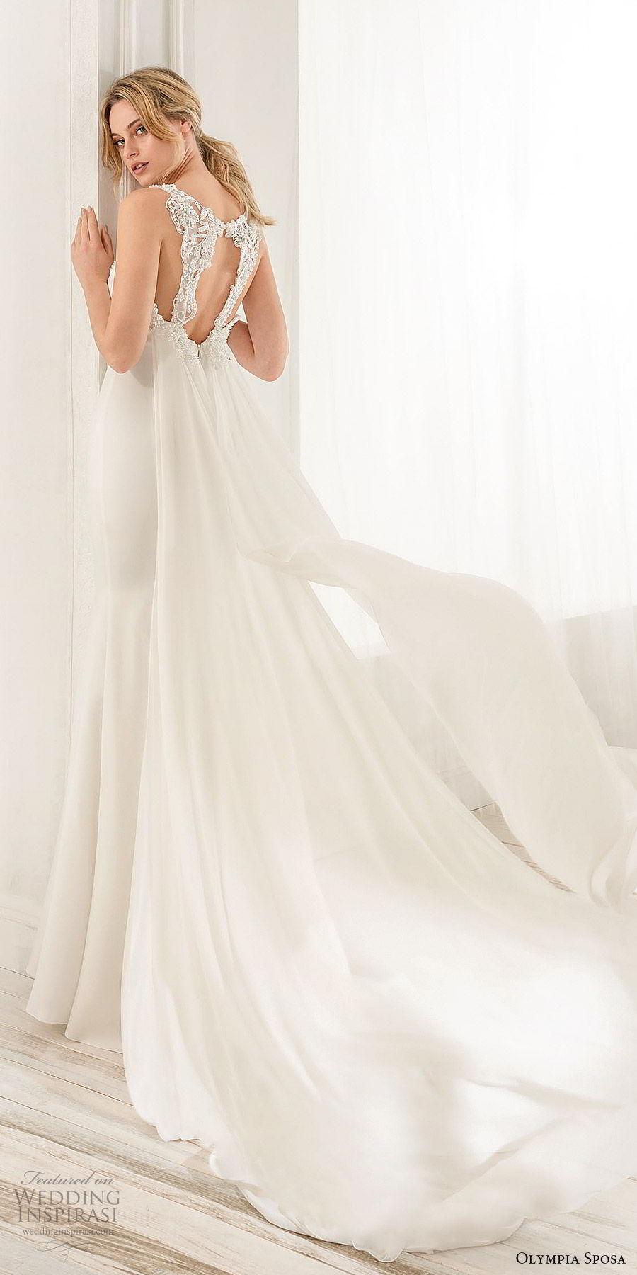 olympia sposa 2020 bridal sleeveless thick lace straps embellisshed deep v neckline keyhole mermaid wedding dress (3) elegant sleek clean back watteau chapel train bv
