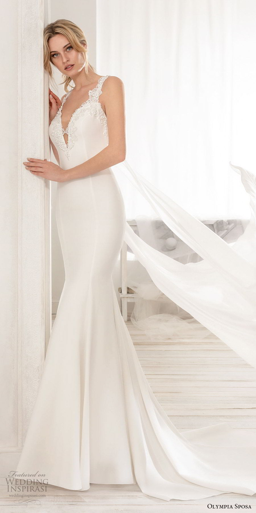 olympia sposa 2020 bridal sleeveless thick lace straps embellisshed deep v neckline keyhole mermaid wedding dress (3) elegant sleek clean back watteau chapel train mv