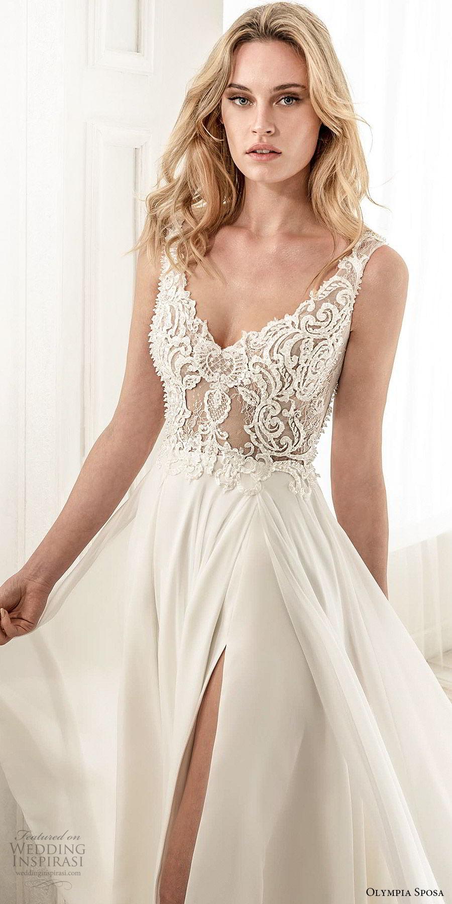 olympia sposa 2020 bridal sleeveless thick straps v neckline sheer embellished lace bodice a line ball gown wedding dress (13) slit elegant sexy modern mv