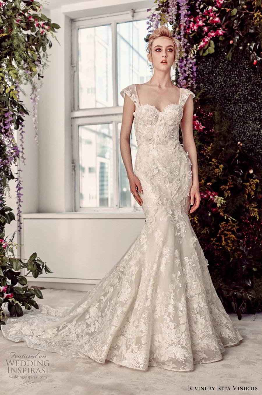 rivini by rita vinieris spring 2020 bridal cap sleeves sweetheart neckline fully embellished elegant lace fit flare wedding dress chapel train (9) mv