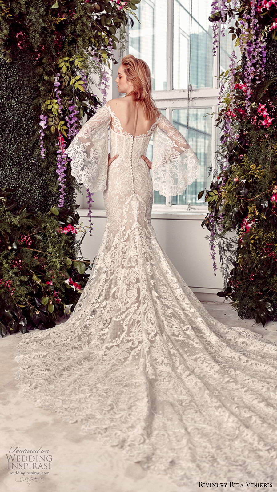 rivini by rita vinieris spring 2020 bridal elbow length flared sleeves off shoulder sweetheart neckline fully embellished lace elegant boho sheath fit flare wedding dress chapel train (1) bv