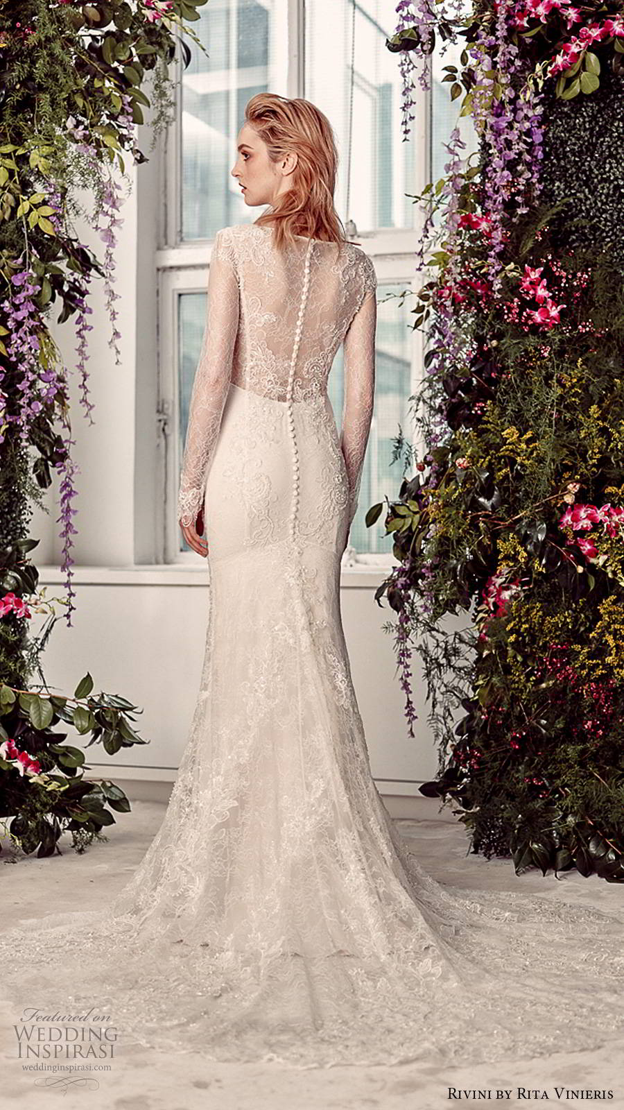 rivini by rita vinieris spring 2020 bridal illusion long sleeves plunging v neckline fully embellished lace elegant sheath fit flare wedding dress (4) bv