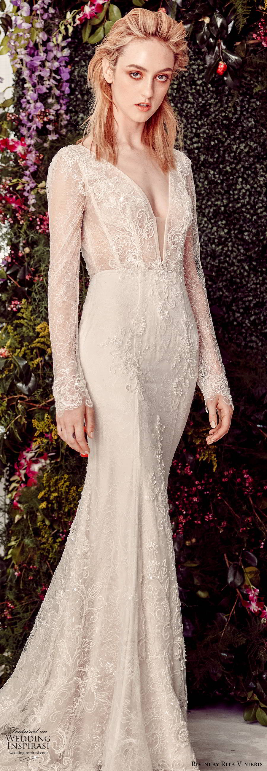 rivini by rita vinieris spring 2020 bridal illusion long sleeves plunging v neckline fully embellished lace elegant sheath fit flare wedding dress (4) lv