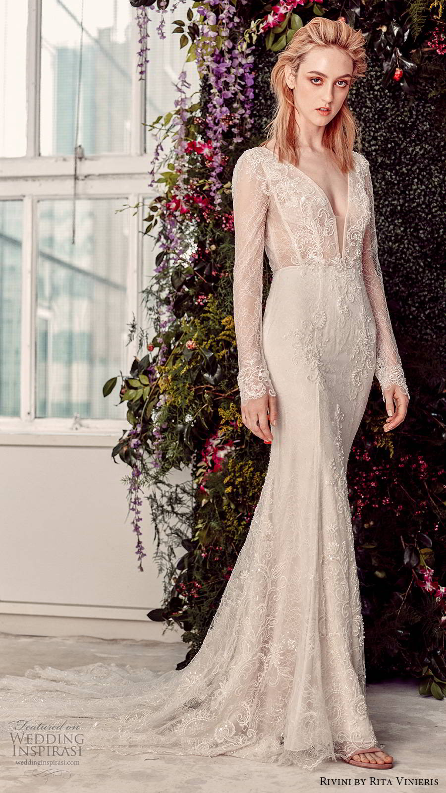 rivini by rita vinieris spring 2020 bridal illusion long sleeves plunging v neckline fully embellished lace elegant sheath fit flare wedding dress (4) mv