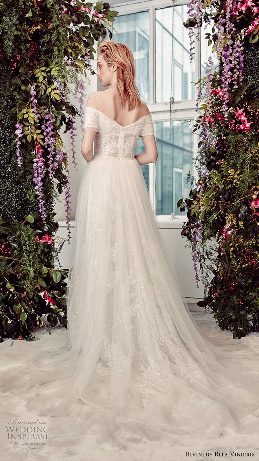 rivini by rita vinieris spring 2020 bridal off shoulder short sleeves semi sweetheart neckline fully embellished sheer overskirt romantic a line ball gown wedding dress chapel train (7) bv