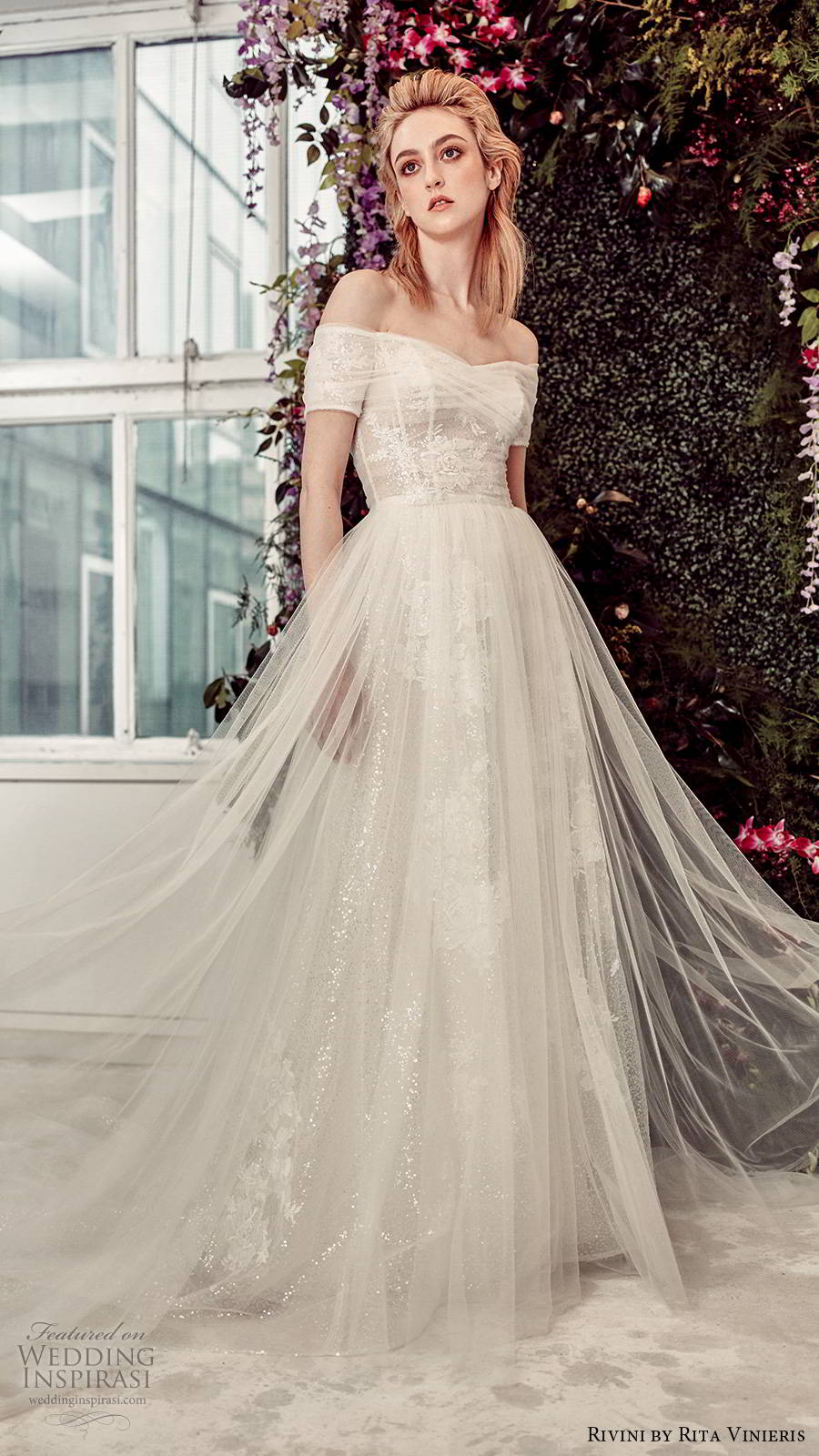rivini by rita vinieris spring 2020 bridal off shoulder short sleeves semi sweetheart neckline fully embellished sheer overskirt romantic a line ball gown wedding dress chapel train (7) mv