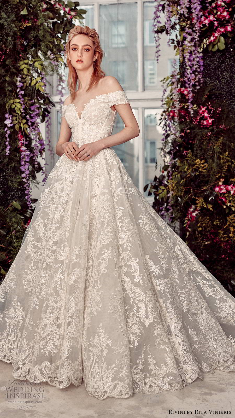 rivini by rita vinieris spring 2020 bridal off shoulder sweetheart neckline fully embellished lace elegant romantic a line ball gown wedding dress chapel train (5) mv