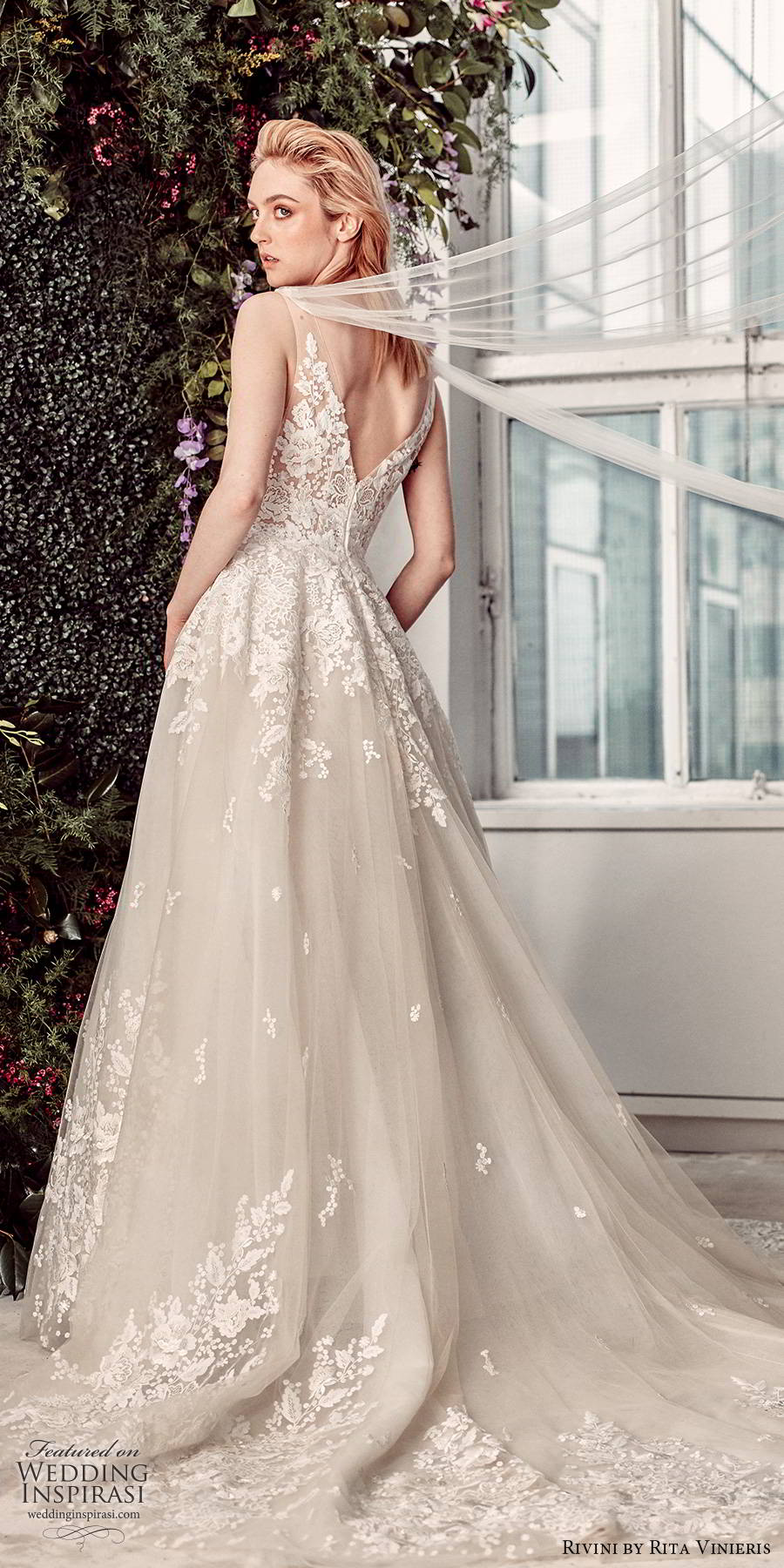 rivini by rita vinieris spring 2020 bridal sleeveless sheer straps illusion embellished lace bodice romantic princess a line ball gown wedding dress chapel train (13) bv
