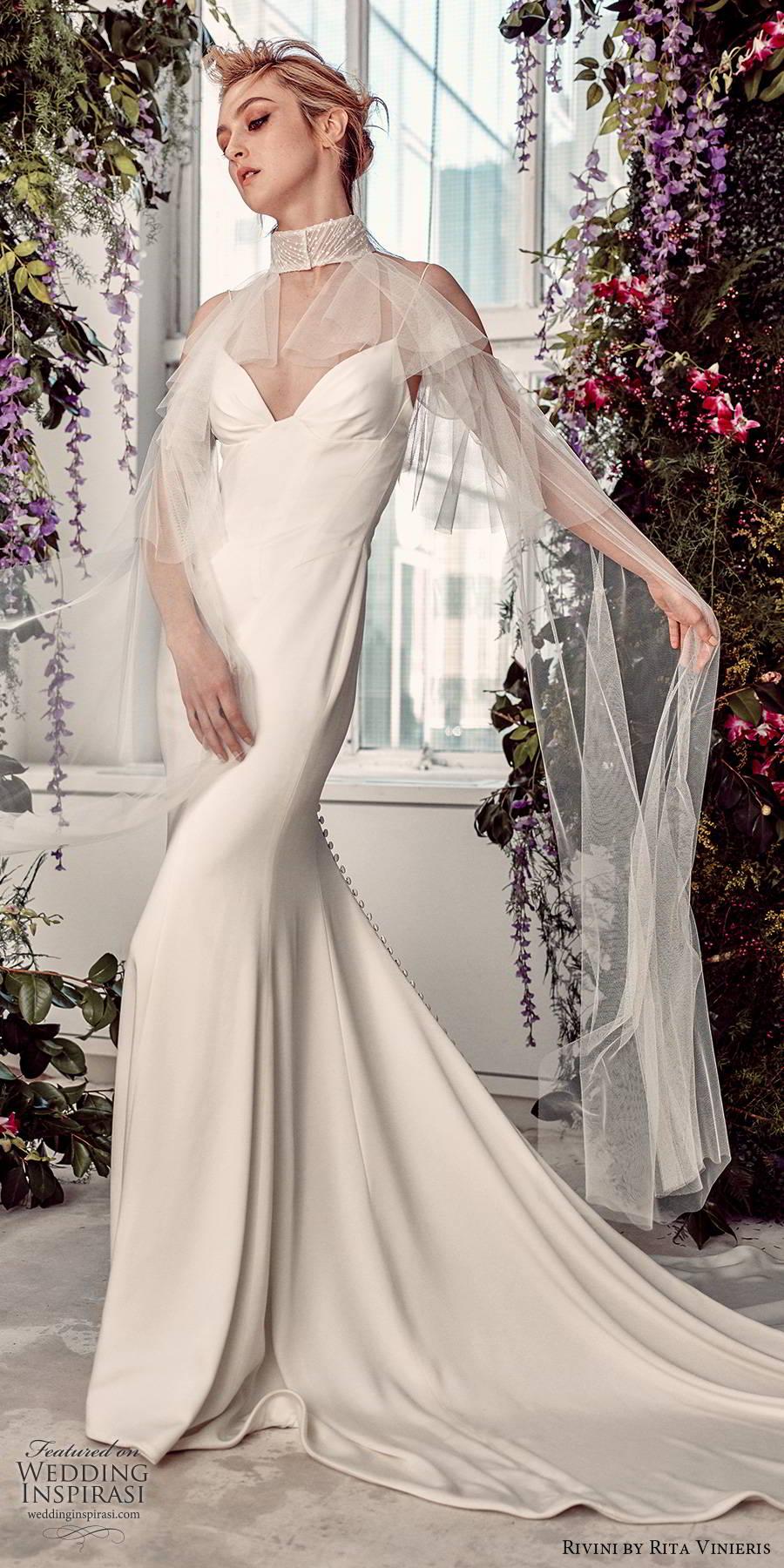 rivini by rita vinieris spring 2020 bridal sleeveless thin straps sweetheart minimally embellished modern clean sheath wedding dress sheer cape chapel train (12) mv