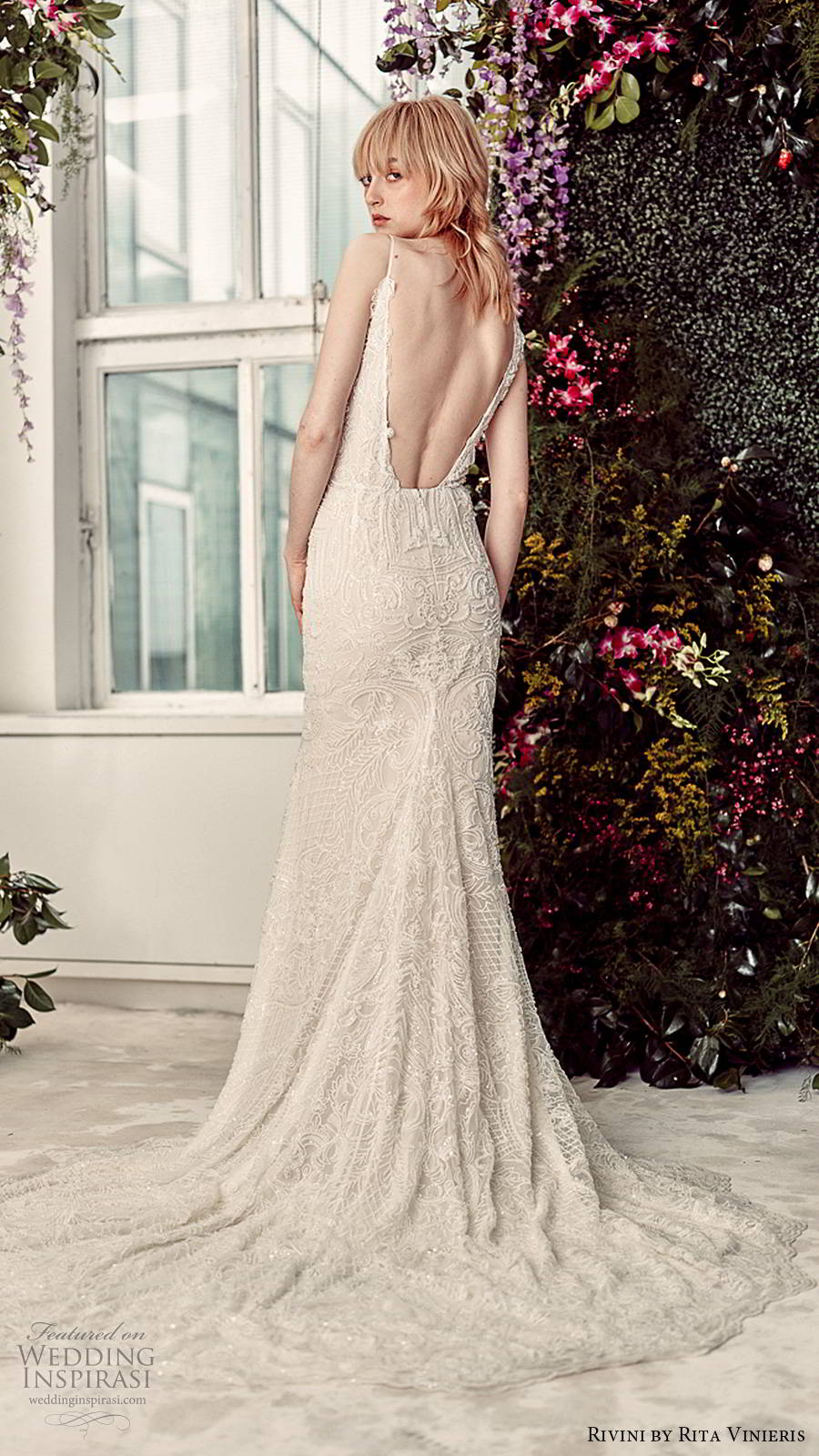 rivini by rita vinieris spring 2020 bridal sleevelses thin straps plunging v neckline fully embellished glam sheath wedding dress open back chapel train (6) bv
