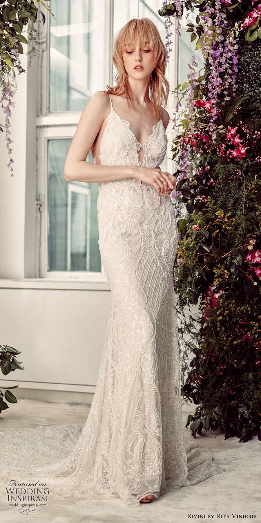 rivini by rita vinieris spring 2020 bridal sleevelses thin straps plunging v neckline fully embellished glam sheath wedding dress open back chapel train (6) mv