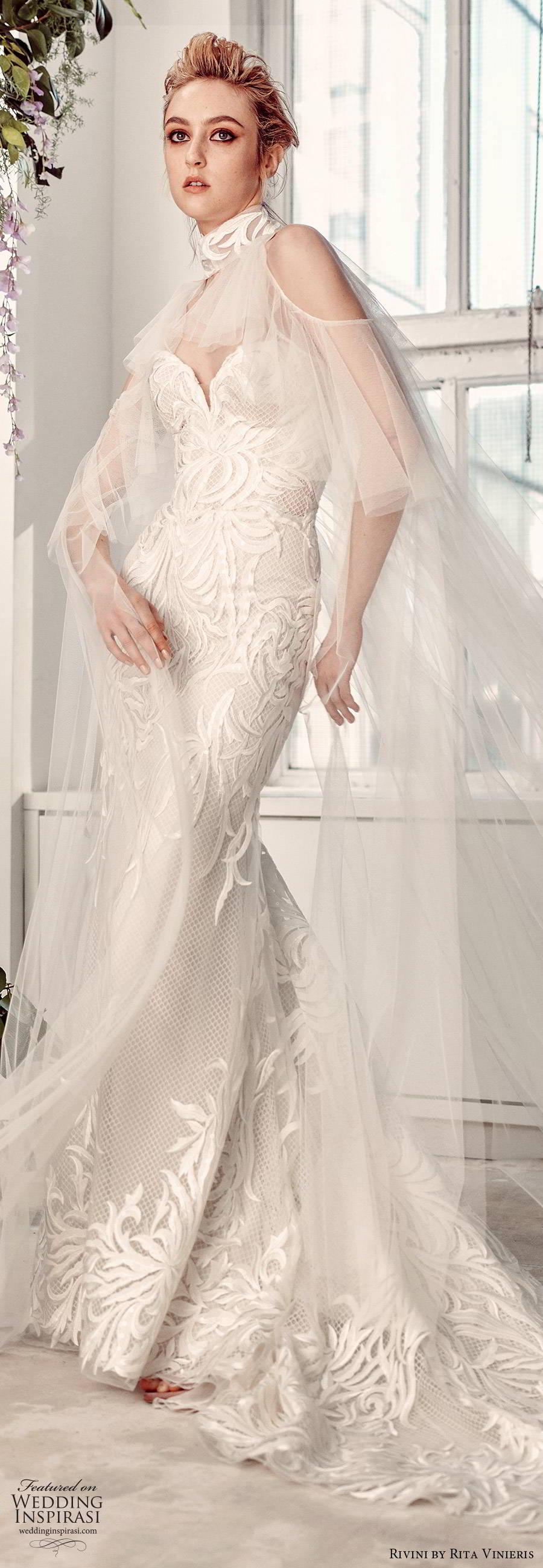 rivini by rita vinieris spring 2020 bridal straples sweetheart fully embellished elegant modern lace sheath wedding dress sheer cape chapel train (10) lv