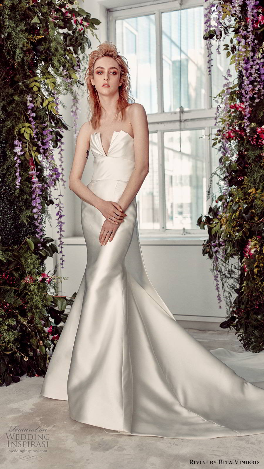 rivini by rita vinieris spring 2020 bridal strapless crumbcatcher neckline minimally embellished clean elegant fit flare mermaid wedding dress chapel train (8) mv