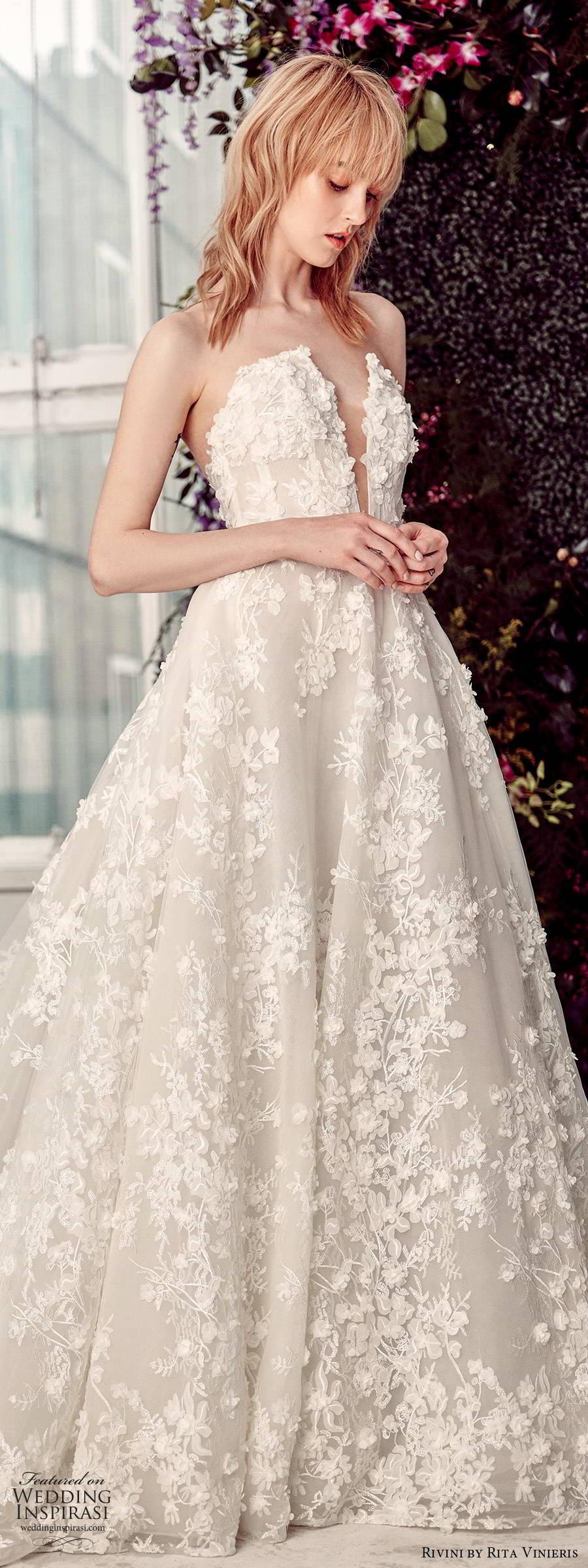 rivini by rita vinieris spring 2020 bridal strapless plunging v neckline fully embellished lace elegant romantic a line ball gown wedding dress chapel train (2) lv