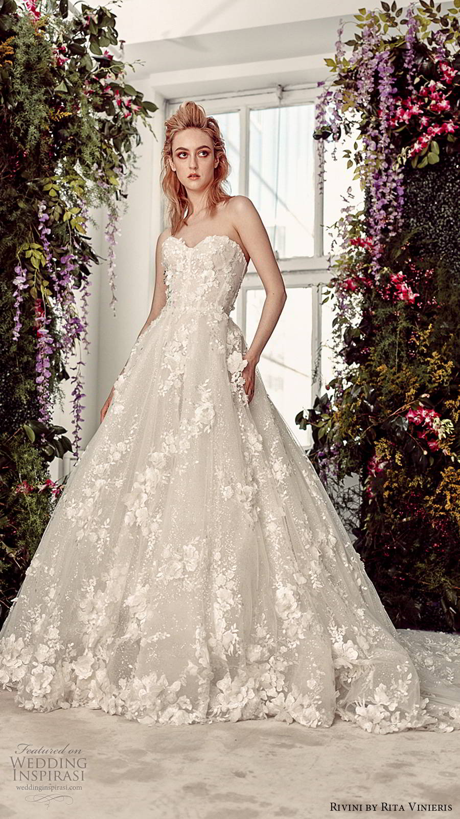 rivini by rita vinieris spring 2020 bridal strapless sweetheart neckline fully embellished elegant romantic a line ball gown wedding dress chapel train (8) mv