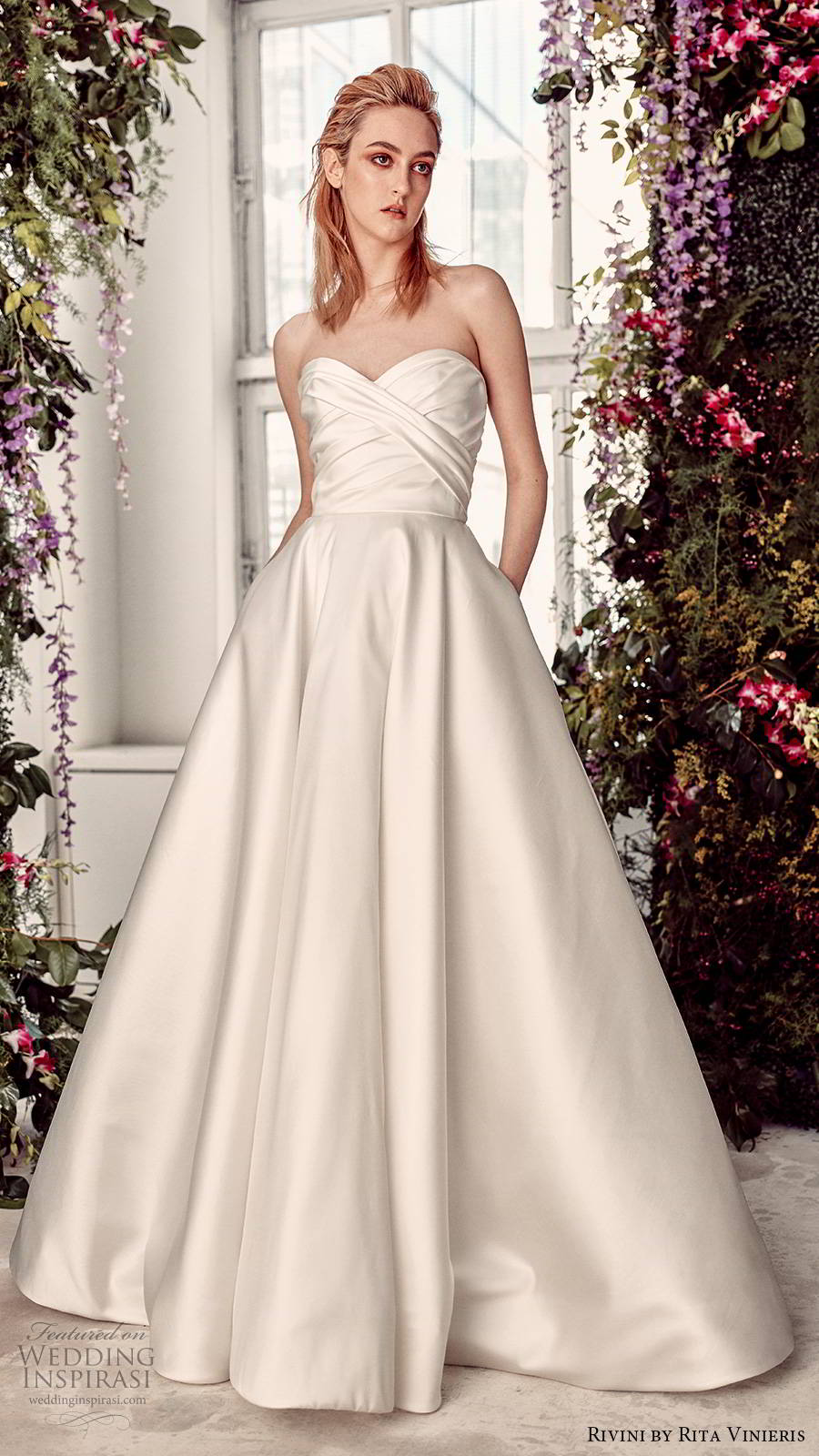 rivini by rita vinieris spring 2020 bridal strapless sweetheart ruched bodice minimalist clean modrn a line ball gown wedding dress pockets chapel train (11) mv