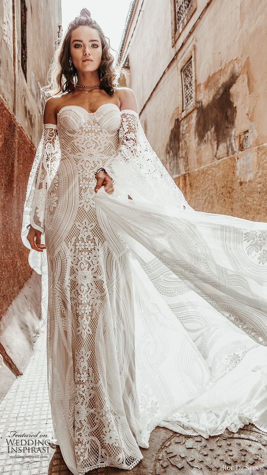 rue de seine 2019 bridal detached bell long sleeves sweetheart neckline fully embellished lace fit flare a line wedding dress (2) boho chic chapel train romantic mv