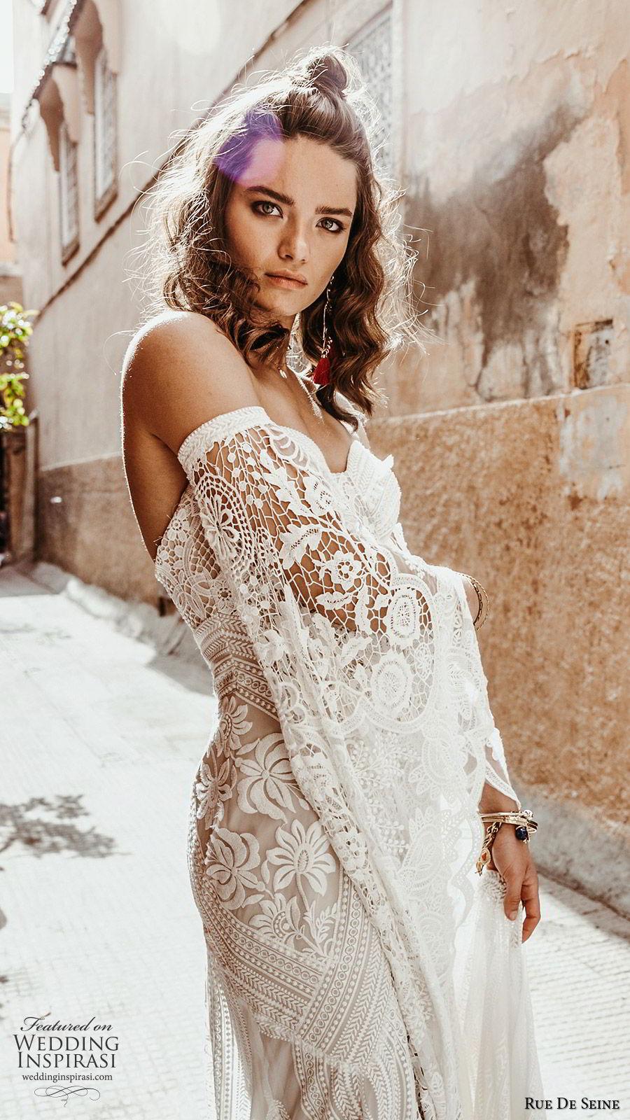 rue de seine 2019 bridal detached bell long sleeves sweetheart neckline fully embellished lace fit flare a line wedding dress (2) boho chic chapel train romantic zsv