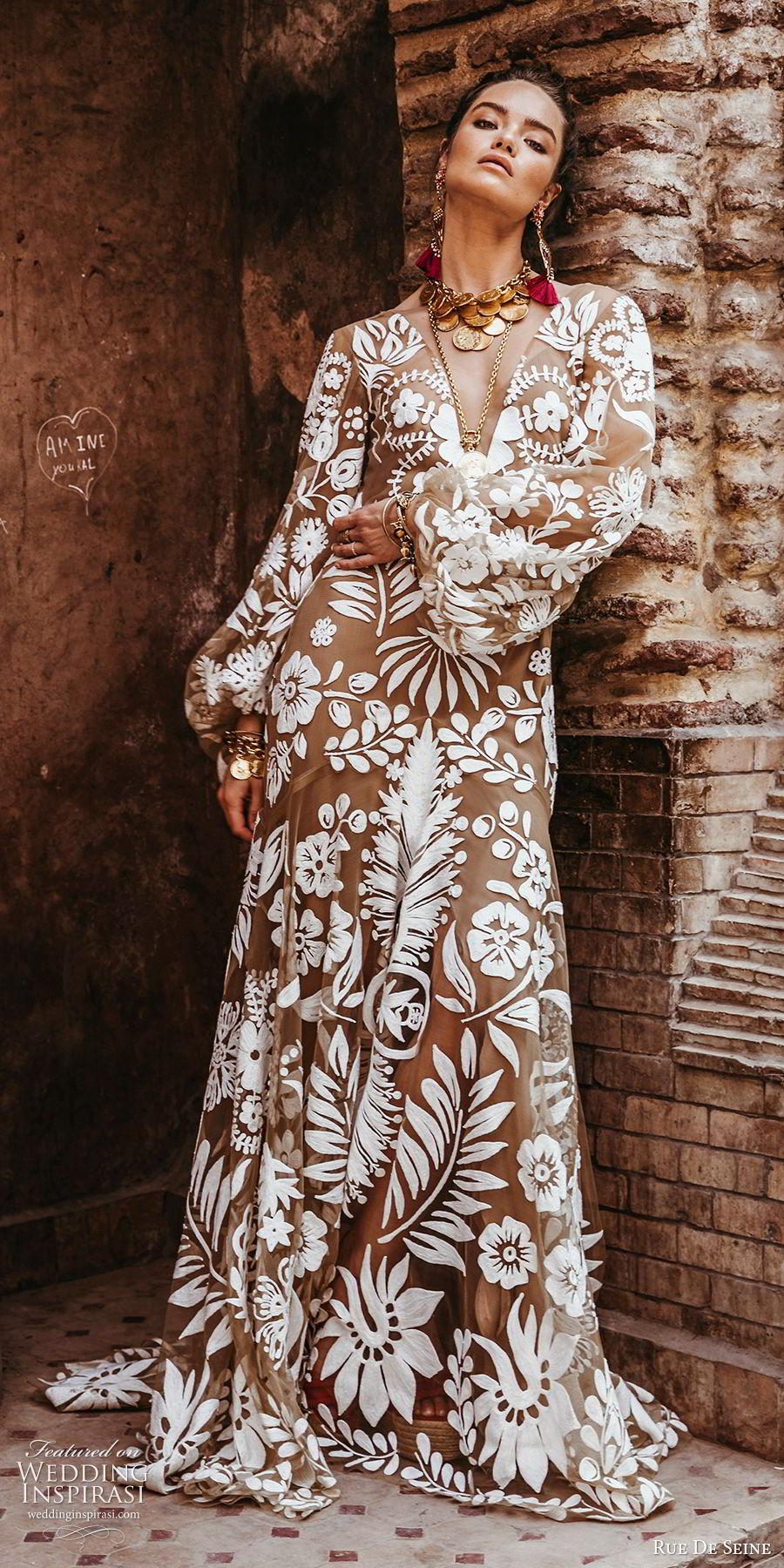 rue de seine 2019 bridal long bishop sleeves deep v neckline trumpet fit flare fully embroidered a line wedding dress (1) boho chic romantic low open back chapel train mv