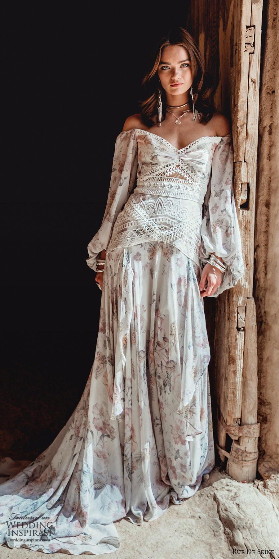 rue de seine 2019 bridal long bishop sleeves off shoulder semi sweetheart fit flare a line wedidng dress (9) boho chic romantic print chapel train mv
