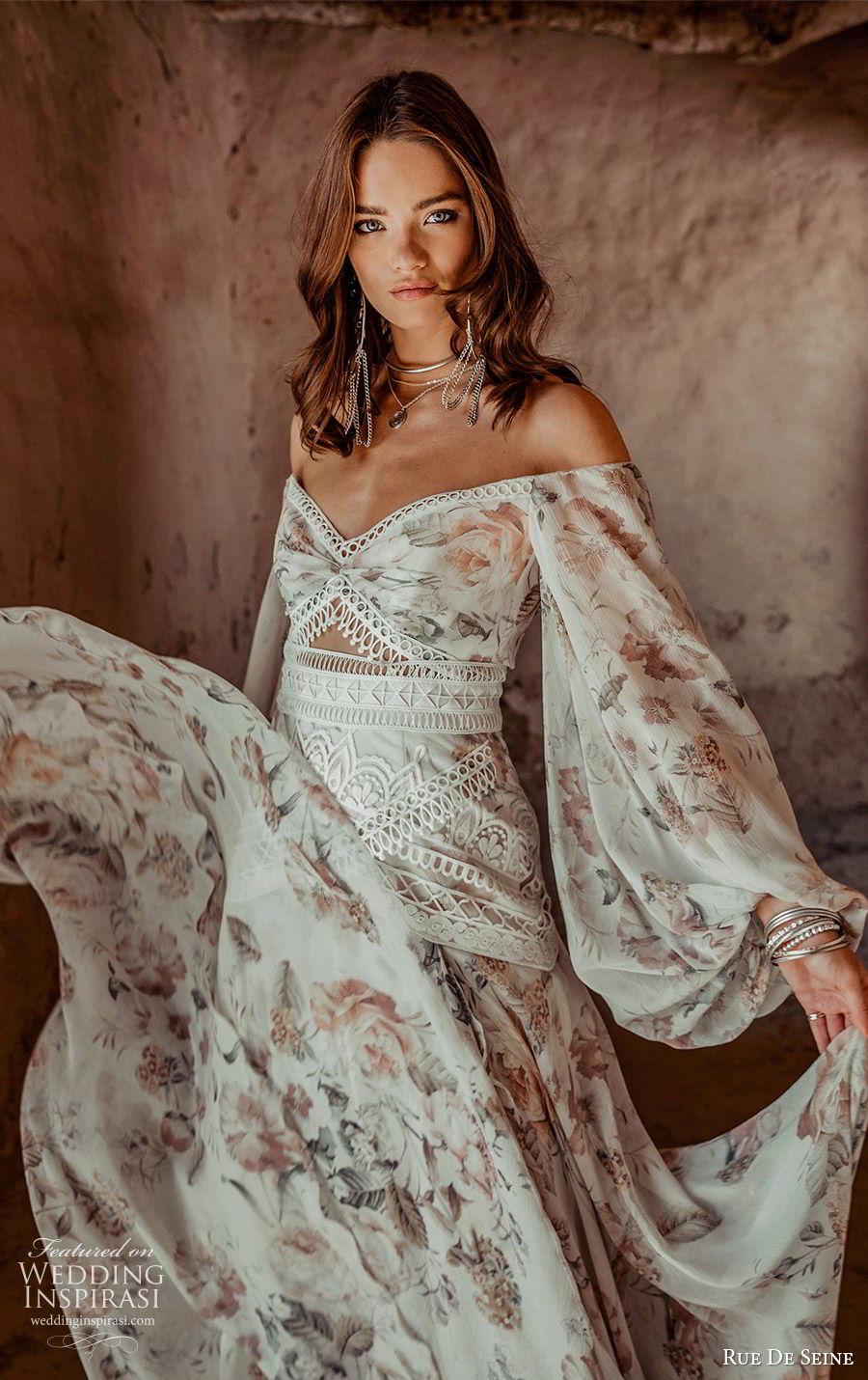rue de seine 2019 bridal long bishop sleeves off shoulder semi sweetheart fit flare a line wedidng dress (9) boho chic romantic print chapel train zv