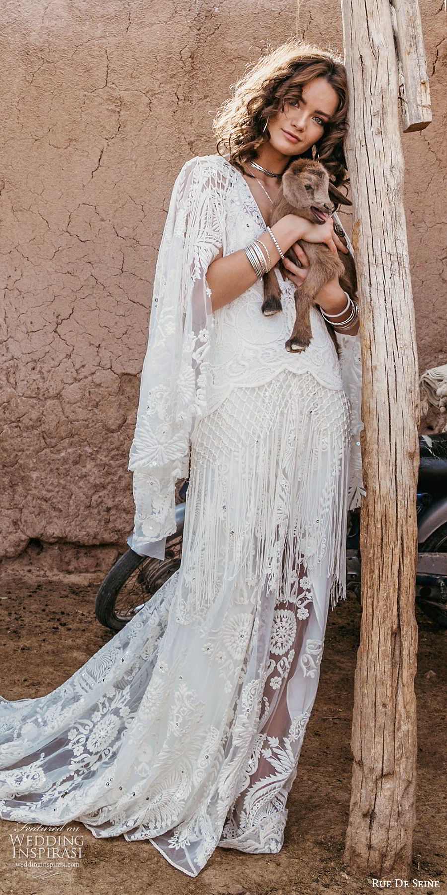 rue de seine 2019 bridal sheer flare sleeves deep v neckline fully embllished lace a line wedding dress (7) boho chic romantic keyhole back chapel train sv