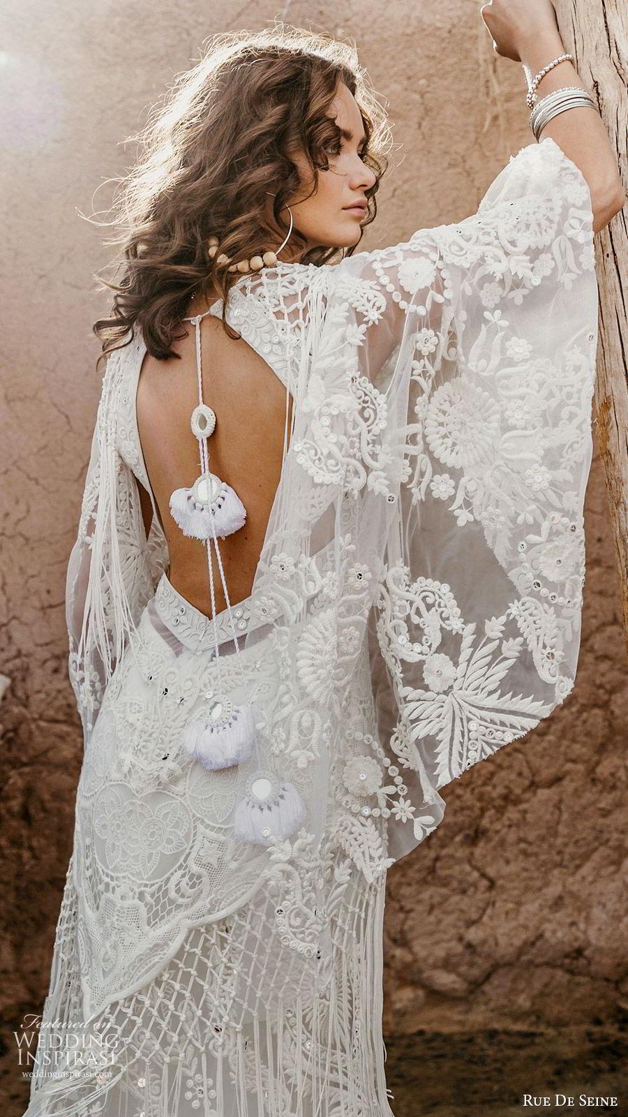 rue de seine 2019 bridal sheer flare sleeves deep v neckline fully embllished lace a line wedding dress (7) boho chic romantic keyhole back chapel train zbv
