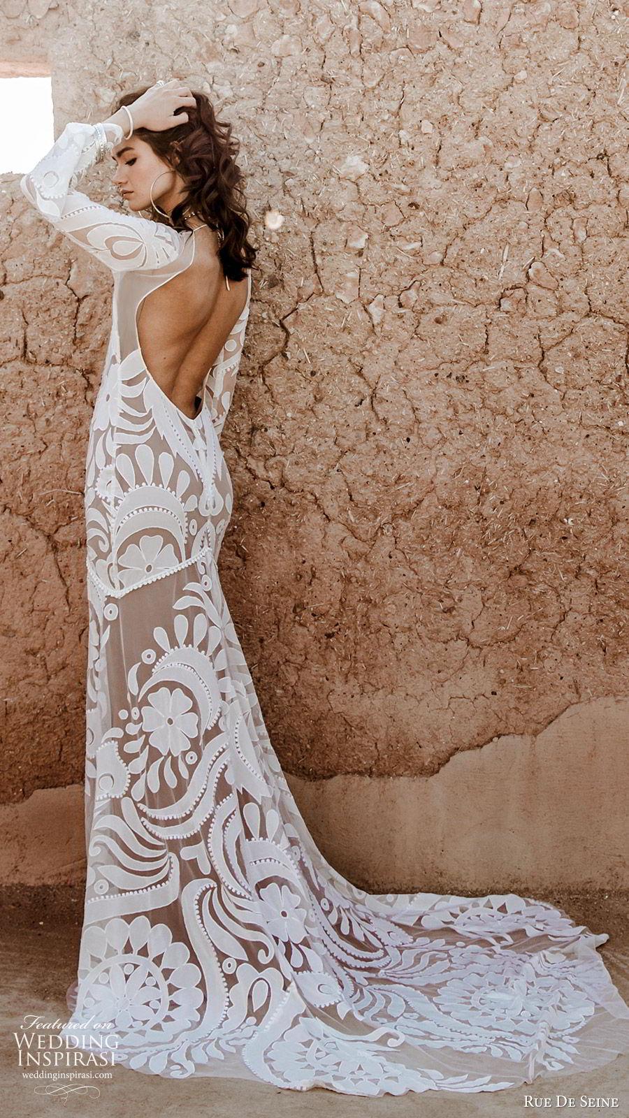 rue de seine 2019 bridal sheer long sleeves deep v neckline lace sheath wedding dress (6) boho chic romantic low open back hapel train bv