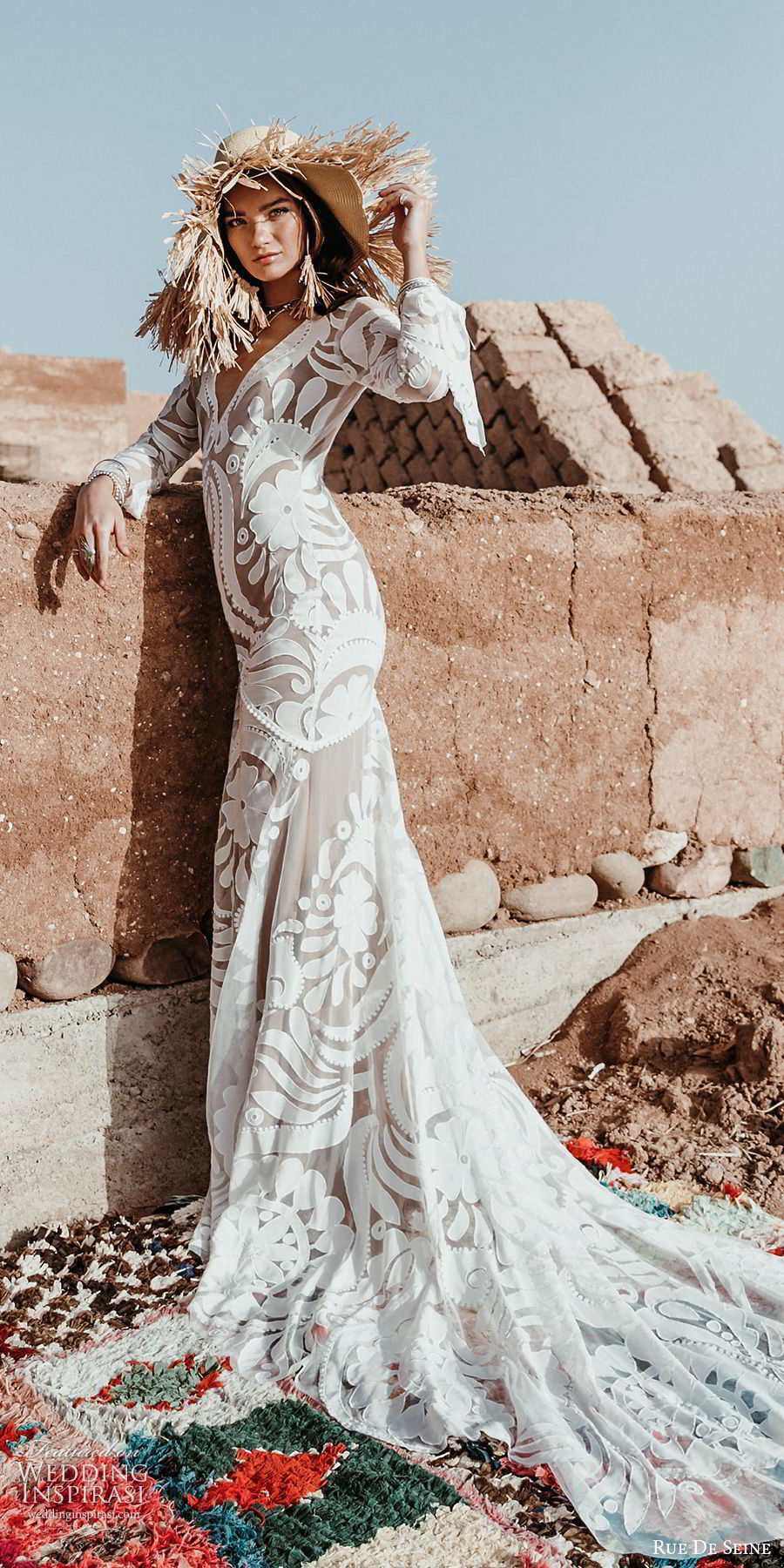 rue de seine 2019 bridal sheer long sleeves deep v neckline lace sheath wedding dress (6) boho chic romantic low open back hapel train mv